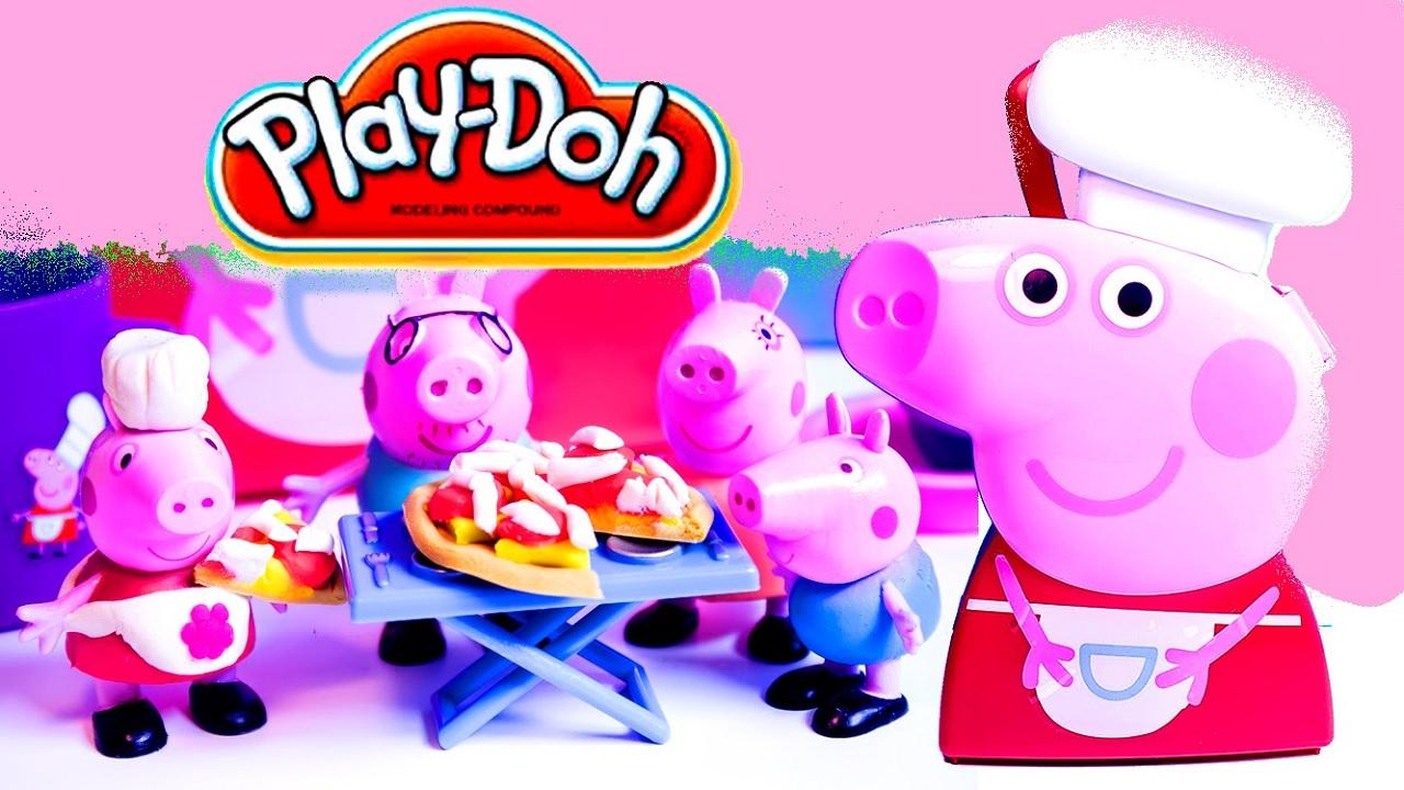 Peppas Family Play Doh Castle Espaol Michaelieclark Peppa Pig First Sleepover New Make Princess Toys And